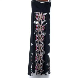 2b Bebe Black White Print Strapless Maxi Dress